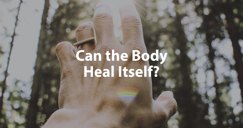 Can the Body Heal Itself Banner Image of Hand reaching to the Sun