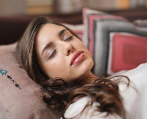 A woman in Past Life Regression Therapy