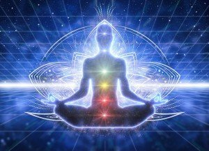 Blue Chakra Image of Person Meditating