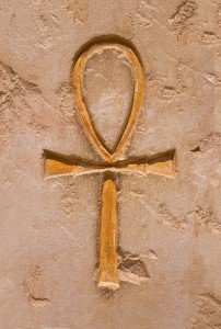 Sand Colored Ankh carved in Stone