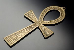 Metal Scribed Ankh on Glass