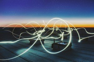A Long Exposure Light on a Rooftop