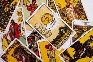 Scrambled stack of Tarot Cards