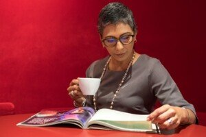 Woman reading a book with Coffee